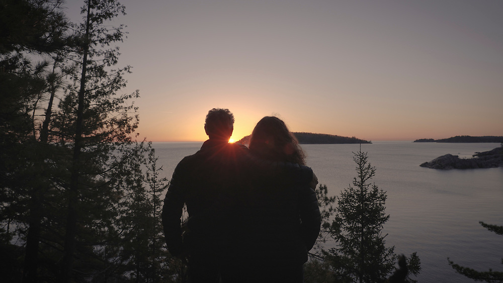Tom Vear and Jen Ray at sunrise still frame from 4k video