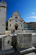 Church of St. Mary (Crkva Sveti Marije), with ancient Roman carved stone in foreground. Zadar, Croatia