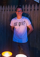 """Merrick, New York, USA. 11th June 2017.  Contestant CHRIS EDOM (wearing white """"GOT GRIT?"""" T-shirt), 48, of Merrick, hosts Viewing Party for """"American Grit"""" Season 2 premiere, a show stressing teamwork. Edom family's neighbors watched Episode 1 of the Fox network TV show in their backyard. Edom was last contestant picked for a team."""