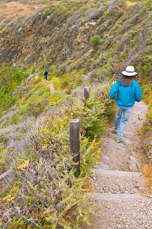 Hikers on the Jade Cove trail, Los Padres National Forest, Big Sur, California