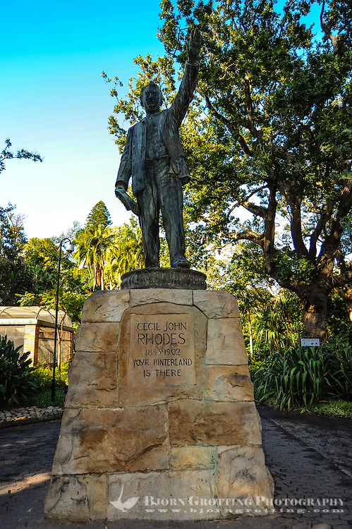 South Africa, Cape Town. The Company's Garden in central Cape Town was originally created in the 1650s. Statue of Cecil Rhodes.