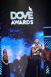 October 16, 2018 - Nashville, TN, U.S. - NASHVILLE, TN - OCTOBER 16: Tauren Wells wins New Artist of the Year during the 49th Annual Dove Awards on October 16, 2018, at Allen Arena in Nashville, TN. (Photo by Jamie Gilliam/Icon Sportswire) (Credit Image: © Jamie Gilliam/Icon SMI via ZUMA Press)