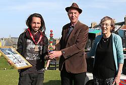 European Stone Stacking 2019 21 April 2019; Over all winner of the European Stone Stacking 2019, Sp Ranza from France (left), at Eye Cave Beach, Dunbar.<br /> <br /> (c) Chris McCluskie | Edinburgh Elite media