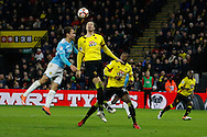 Burton Albion midfielder Marcus Harness (22) and Watford defender Sebastian Prodl (5) during the The FA Cup 3rd round match between Watford and Burton Albion at Vicarage Road, Watford, England on 7 January 2017. Photo by Richard Holmes.