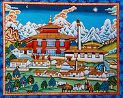 Thyangboche monastery, Traditional Nepalese painting, Nepal