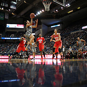 HARTFORD, CONNECTICUT- DECEMBER 19: Kia Nurse #11 of the Connecticut Huskies drives to the basket defended by Makayla Waterman #24 of the Ohio State Buckeyes during the UConn Huskies Vs Ohio State Buckeyes, NCAA Women's Basketball game on December 19th, 2016 at the XL Center, Hartford, Connecticut (Photo by Tim Clayton/Corbis via Getty Images)