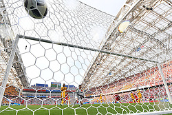 SOCHI, June 26, 2018  Goalkeeper Mathew Ryan of Australia misses a goal during the 2018 FIFA World Cup Group C match between Australia and Peru in Sochi, Russia, June 26, 2018. Peru won 2-0. (Credit Image: © Liu Dawei/Xinhua via ZUMA Wire)