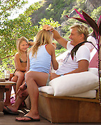 **EXCLUSIVE**.Swedish Actor Dolph Lundgren and wife Anette with their daughters Ida, 12, and Greta, 7 on the Beach..Do Brazil Restaurant..St. Barth, Caribbean..Thursday January 02, 2009..Photo By Celebrityvibe.com..To license this image please call (212) 410 5354; or Email: celebrityvibe@gmail.com ;.website: www.celebrityvibe.com
