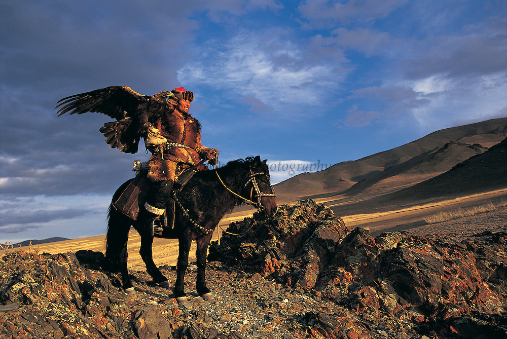 Kazakh & Golden eagle<br /> (Aquila chrysaetos)<br /> eagles used for hunting<br /> Western Mongolia