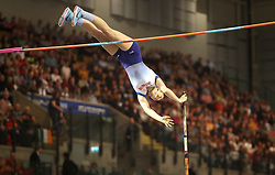 Great Britain's Holly Bradshaw during the Women's Pole Vault Final during day three of the European Indoor Athletics Championships at the Emirates Arena, Glasgow.
