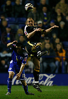 Photo: Steve Bond.<br /> Leicester City v Cardiff City. Coca Cola Championship. 26/11/2007. Darren Purse (R) clears. Matty Fryatt (L) is beaten to the ball