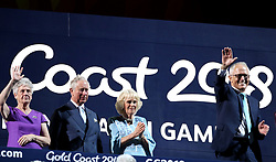 Louise Martin, the Prince of Wales, the Duchess of Cornwall and Australia prime minister Malcolm Turnbull (left-right) during the Opening Ceremony for the 2018 Commonwealth Games at the Carrara Stadium in the Gold Coast, Australia.