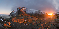 Winter sunrise over Vindstad, Moskenesøy, Lofoten Islands, Norway