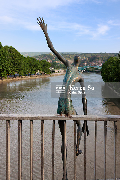 Statue on the bridge over Mt'k'vari (Kura) River,Tbilisi, Georgia