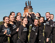 New York, New York  - Members of the Columbia University women's cross country team hold the trophy after winning the Ivy League Heptagonal cross country championship meet at Van Cortlandt Park in the Bronx on Oct. 26, 2017.