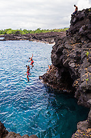 End of the World cliff dive in Kona is not so difficult and most amature adventurers will feel comfortable jumping. However it is a good idea to check local surf conditions. Jumping into the ocean is easy. It is climbing out that can be challenging. Most drop offs are around 30 feet in height.  The ocean is clear and it is easy to see if there are rocks below.   Daredevils should ask other more experienced divers at site questions or watch a few people dive before braving themselves.
