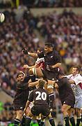 Twickenham. Surrey. UK England vs New Zealand, Autumn Internationals.<br /> <br /> 09/11/2002<br /> International Rugby England vs New Zealand<br /> <br /> Line out ball -  All Black Brad Mika<br /> <br /> [Mandatory Credit: Peter SPURRIER/Intersport Images]
