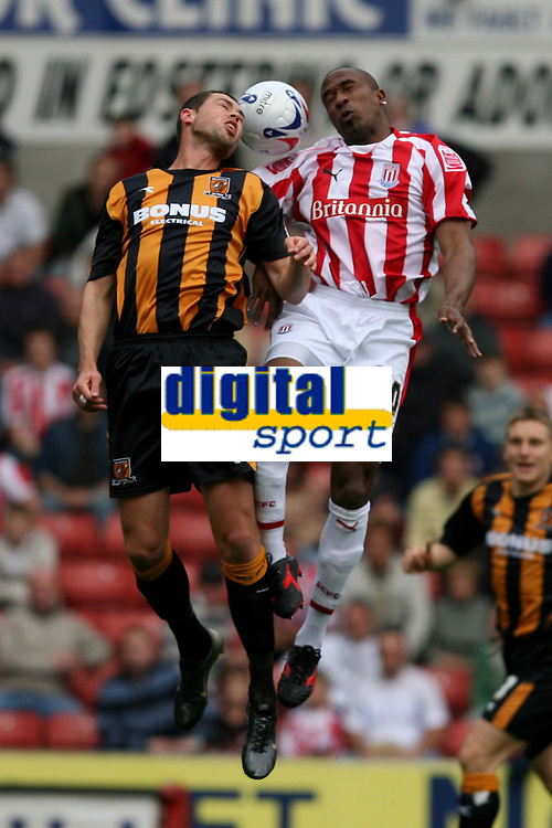 Photo: Pete Lorence.<br />Stoke City v Hull City. Coca Cola Championship. 21/04/2007.<br />Damien Dalaney and Ricardo Fuller battle for the ball.