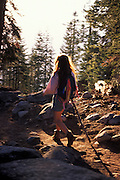 Young woman hiking along trail, Sequoia National Park, California