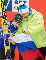 Maja Vtic of Slovenia and Borut Pahor, president of Slovenia during the Trophy ceremony at Day 2 of World Cup Ski Jumping Ladies Ljubno 2016, on February 14, 2016 in Ljubno, Slovenia. Photo by Vid Ponikvar / Sportida