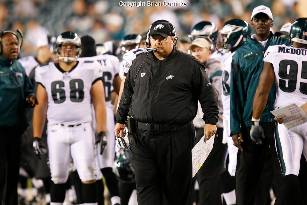 8 August 2008: Philadelphia Eagles Head Coach andy Reid looks onto the field with disappointment during the game against the Carolina Panthers on August 14, 2008. The Eagles beat the Panthers 24 to 13 at Lincoln Financial Field in Phialdelphia, Pennsylvania.