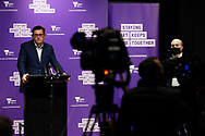 Premier Daniel Andrews addresses the media during a press conference at Treasury Theatre. Victoria's health minister Jenny Mikakos has resigned on Saturday after the hotel quarantine inquiry. Premier Daniel Andrews gave evidence on the final day of the inquiry on Friday saying he regarded Jenny Mikakos accountable for the program that ultimately led to Victoria's COVID-19 second wave.  (Photo by Dave Hewison/Speed Media)