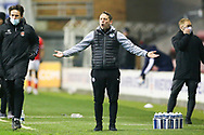 Wigan Athletic Manager Leam Richardson gestures during the EFL Sky Bet League 1 match between Wigan Athletic and Charlton Athletic at the DW Stadium, Wigan, England on 2 March 2021.