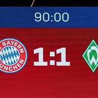 21.11.2020, Allianz Arena, Muenchen, GER,  FC Bayern Muenchen SV Werder Bremen <br /> <br /> <br />  im Bild Endstand auf der Anzeigetafel 1-1 <br /> <br /> <br /> <br /> Foto © nordphoto / Straubmeier / Pool/ <br /> <br /> DFL regulations prohibit any use of photographs as image sequences and / or quasi-video.