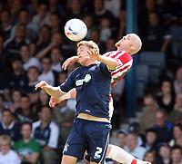 Photo: Chris Ratcliffe.<br />Southend United v Stoke City. Coca Cola Championship.<br />05/08/2006.<br />Hanus Sigurdsson of Stoke City (L) clashes with Simon Francis of Southend.