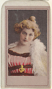 Actress wearing white feathers around shoulders, from the Actresses series issued by Sweet Caporal Cigarettes
