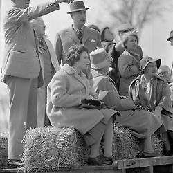 HM The Queen Elizabeth II with HRH The Queen Mother and Earl Mountbatten at the Badminton Horse Trials, Gloucestershire on 13th April 1962