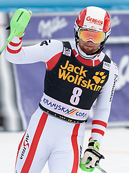 05.03.2017, Podkoren, Kranjska Gora, SLO, FIS Weltcup Ski Alpin, Kranjska Gora, Slalom, Herren, 2. Lauf, im Bild Marco Schwarz (AUT) // Marco Schwarz of Austria reacts after his 2nd run of men's Slalom of FIS ski alpine world cup at the Podkoren in Kranjska Gora, Slovenia on 2017/03/05. EXPA Pictures © 2017, PhotoCredit: EXPA/ Johann Groder