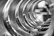 crankshaft bearings awaiting assembly on truck engine assembly line