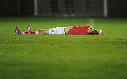 Bristol City's Jake Andrews cuts a dejected figure on the final whistle  - Photo mandatory by-line: Joe Meredith/JMP - Mobile: 07966 386802 - 05/11/2014 - SPORT - Football - Oxford - Loop Meadow Stadium - Oxford United v Bristol City - FA Youth Cup