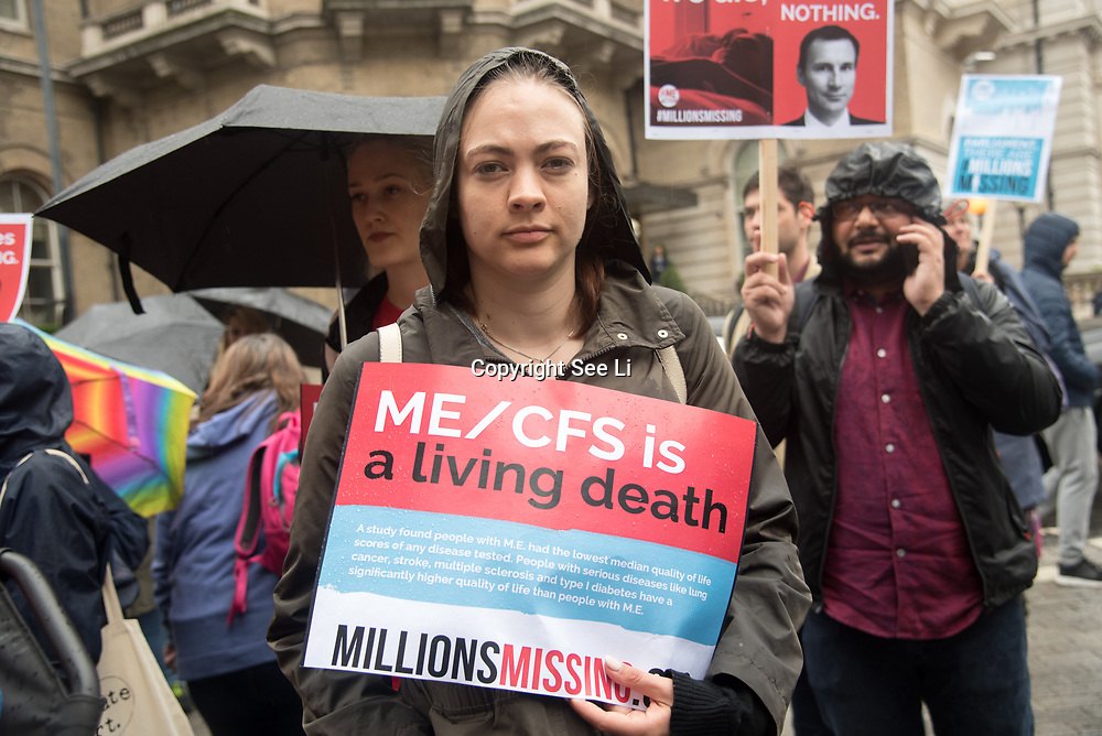 UK: Demonstrators rally for a Millions Missing march to demand health equality for all in London<br /> An empty pair of shoes, representing a patient of Myalgic Encephalomyelitis, is on display as people rally in London for a Millions Missing rally on May 12, 2018. The Millions Missing are 20 million people worldwide missing from their lives because of the debilitating and often disabling disease.