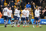 Preston North End defender Paul Gallagher celebrates opening goal during the Sky Bet Championship match between Wolverhampton Wanderers and Preston North End at Molineux, Wolverhampton, England on 13 February 2016. Photo by Alan Franklin.