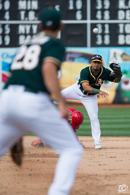 Oakland Athletics second baseman Franklin Barreto (1) throws to first base during a double play attempt against the Los Angeles Angels at Oakland Coliseum in Oakland, California, on September 6, 2017. (Stan Olszewski/Special to S.F. Examiner)