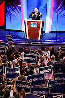 Senator Ted Kennedy addresses the Democratic National Convention in Denver, Colorado, Sunday, August 24, 2008.
