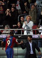"""Samuel Eto'o, Franck Rijkaard (Barcelona)<br /> <br /> Spanish """"La Liga"""" 2006-07<br /> <br /> 25 Feb 2007 (Match Day 24)<br /> <br /> Barcelona - Athletic (3-0)<br /> <br /> """"Nou Camp""""-Stadium-Barcelona-Spain<br /> <br /> Photographer: Paco Serinelli INSIDE"""