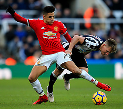 Alexis Sanchez of Manchester United battles with Matt Ritchie of Newcastle United - Mandatory by-line: Matt McNulty/JMP - 11/02/2018 - FOOTBALL - St James Park - Newcastle upon Tyne, England - Newcastle United v Manchester United - Premier League