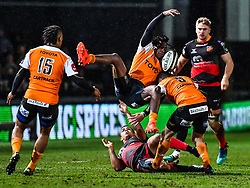 Cheetahs' Sibhale Maxwane in action during todays match<br /> <br /> Photographer Craig Thomas/Replay Images<br /> <br /> Guinness PRO14 Round 18 - Dragons v Cheetahs - Friday 23rd March 2018 - Rodney Parade - Newport<br /> <br /> World Copyright © Replay Images . All rights reserved. info@replayimages.co.uk - http://replayimages.co.uk