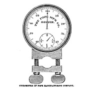 Cyclometer of Pope manufacturing Company from The American bicycler: a manual for the observer, the learner, and the expert by Pratt, Charles E. (Charles Eadward), 1845-1898. Publication date 1879. Publisher Boston, Houghton, Osgood and company