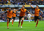 Dave Edwards celebrates scoring the fourth goal during the Sky Bet Championship match between Wolverhampton Wanderers and Leeds United at Molineux, Wolverhampton, England on 6 April 2015. Photo by Alan Franklin.