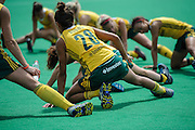 Quanita Bobbs of South African stretches after their match against Argentina in the Investec Hockey World League Semi Final 2013, the Quintin Hogg Memorial Sports Ground, University of Westminster, London, UK on 27 June 2013. Photo: Simon Parker