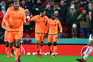 Sadio Mane of Liverpool (r) celebrates with his teammate Emre Can of Liverpool after scoring his teams 1st goal. Premier league match, Stoke City v Liverpool at the Bet365 Stadium in Stoke on Trent, Staffs on Wednesday 29th November 2017.<br /> pic by Chris Stading, Andrew Orchard sports photography.