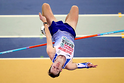 Great Britain's Chris Baker competes in the Men's High Jump qualifying during day one of the European Indoor Athletics Championships at the Emirates Arena, Glasgow.