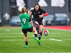 Wales women's Robyn Wilkins chips ahead<br /> <br /> Photographer Craig Thomas/Replay Images<br /> <br /> International Friendly - Wales women v Ireland women - Sunday 21th January 2018 - CCB Centre for Sporting Excellence - Ystrad Mynach<br /> <br /> World Copyright © Replay Images . All rights reserved. info@replayimages.co.uk - http://replayimages.co.uk
