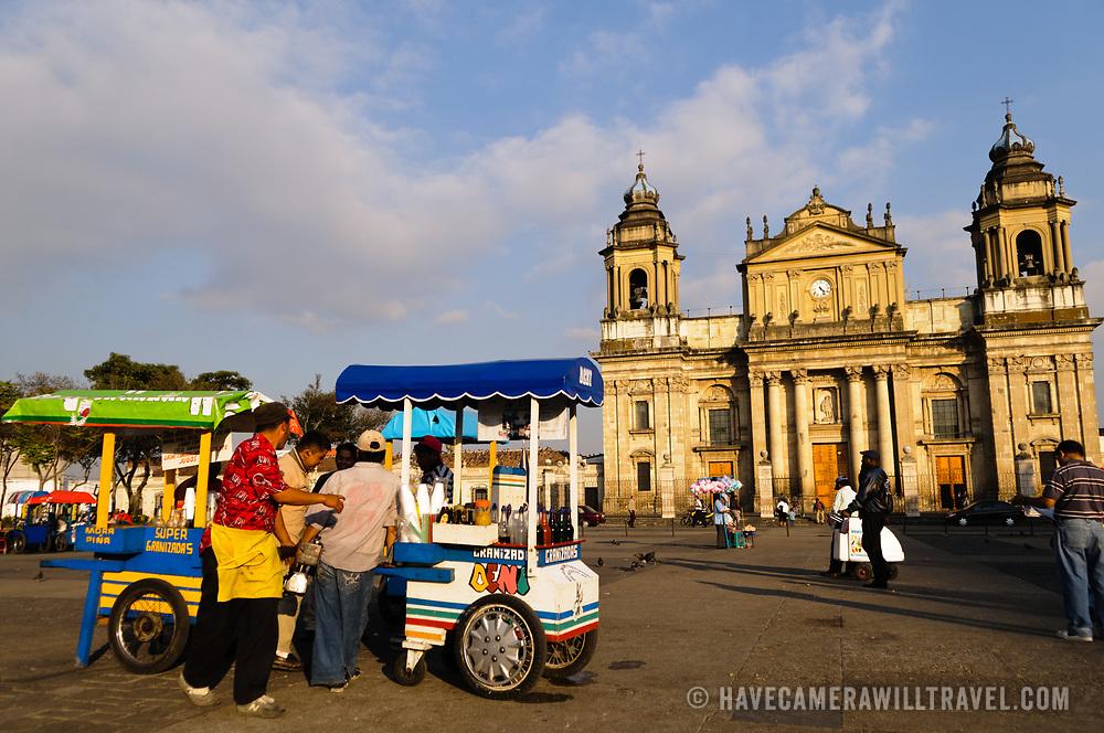 Parque Central (officially the Plaza de la Constitucion) in the center of Guatemala City, Guatemala.