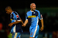 Photo: Richard Lane.<br />Cheltenham Town v Wycombe Wanderers. Coca Cola League 2. Play off Semi Final, 2nd Leg. 18/05/2006. <br />Wycombe's Tommy Mooney leaves the field injured.