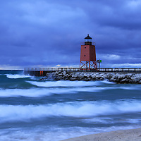 """""""Charlevoix Lighthouses A Midst a Storm""""<br /> <br /> Scenic long exposure at the beautiful lighthouse in Charlevoix Michigan during a storm!!<br /> <br /> Lighthouses of the Great Lakes by Rachel Cohen"""